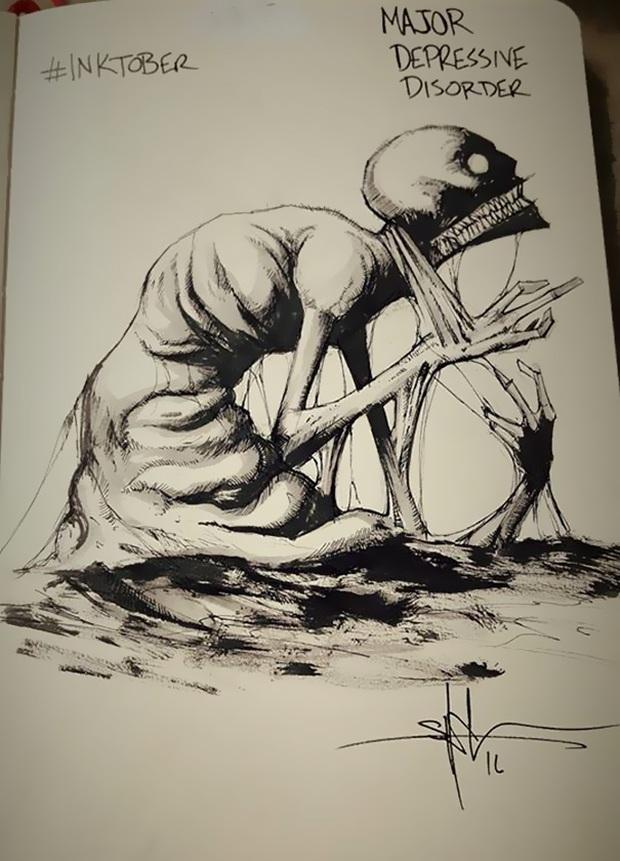 Minh họa đáng sợ về 9 chứng bệnh tâm lý khủng khiếp nhất ở con người - Ảnh 2.