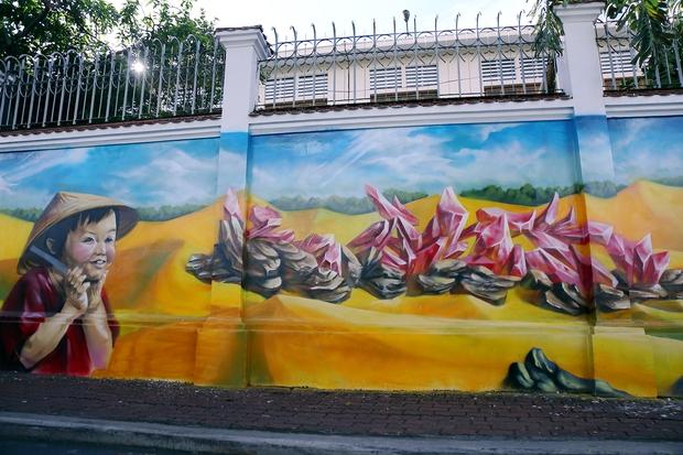 Bức tường cũ kỹ dài 60m bỗng biến thành những bức tranh phong cảnh quê hương 3 miền giữa Sài Gòn - Ảnh 13.