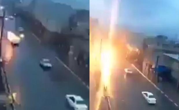 Video: Đang đi trên đường, chiếc xe ô tô bị sét giáng xuống, bốc cháy dữ dội - Ảnh 2.