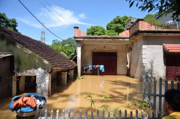 Chùm ảnh: Nhà ngập sâu đến ngang cửa, người dân Ninh Bình dùng chậu nhôm, ghế gỗ chèo thuyền đi lại trong ngõ - Ảnh 10.