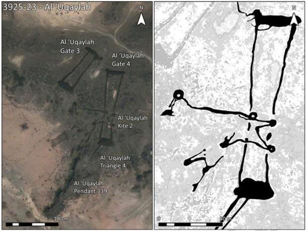 Bí ẩn những hàng rào đá ngàn năm tuổi ở vùng sa mạc Saudi Arabia được phát hiện qua Google Earth - Ảnh 2.