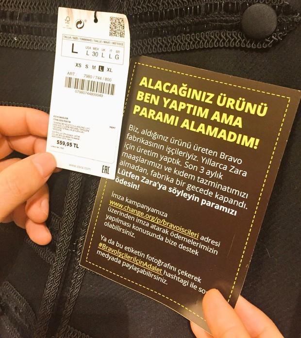 Hãng thời trang nổi tiếng Zara bị công nhân tố nợ lương 3 tháng thông qua lời kêu cứu trên nhãn quần áo - Ảnh 1.