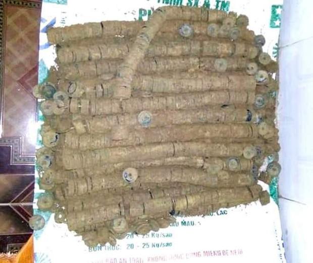 Đào đất sửa nhà thờ họ, bất ngờ phát hiện hơn 1,4 tạ tiền xu xâu thành khối - Ảnh 2.