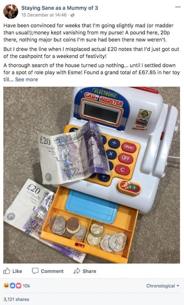 """Bà mẹ 3 con hoang mang khi tiền trong bóp cứ tự động biến mất, cho đến ngày cô phát hiện """"kho báu"""" ở một nơi khó ngờ - Ảnh 1."""