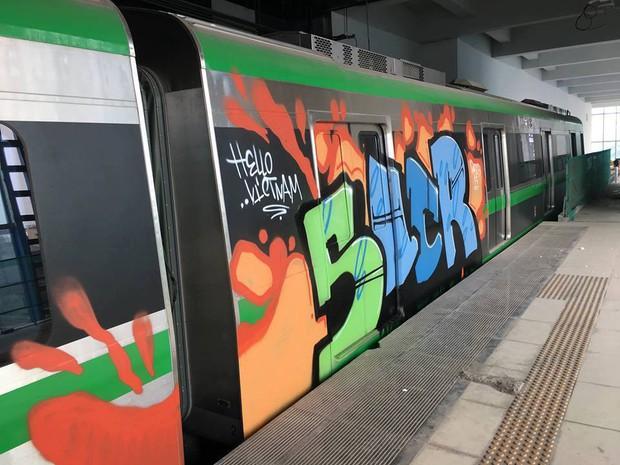 Người bôi bẩn đoàn tàu đường sắt trên cao Cát Linh - Hà Đông bằng hình vẽ graffiti có thể đối diện án tù giam - Ảnh 1.