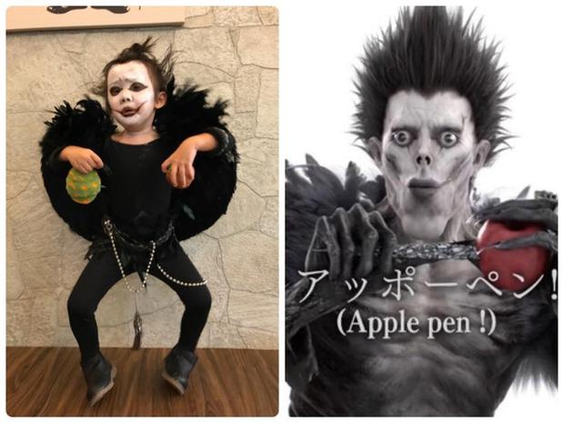 """Chán""""Con ma Vô Diện"""", chị em nhà cô bé Meng Meng diện ngay trang phục thần chết trong Death Note cực kì ấn tượng - Ảnh 2."""