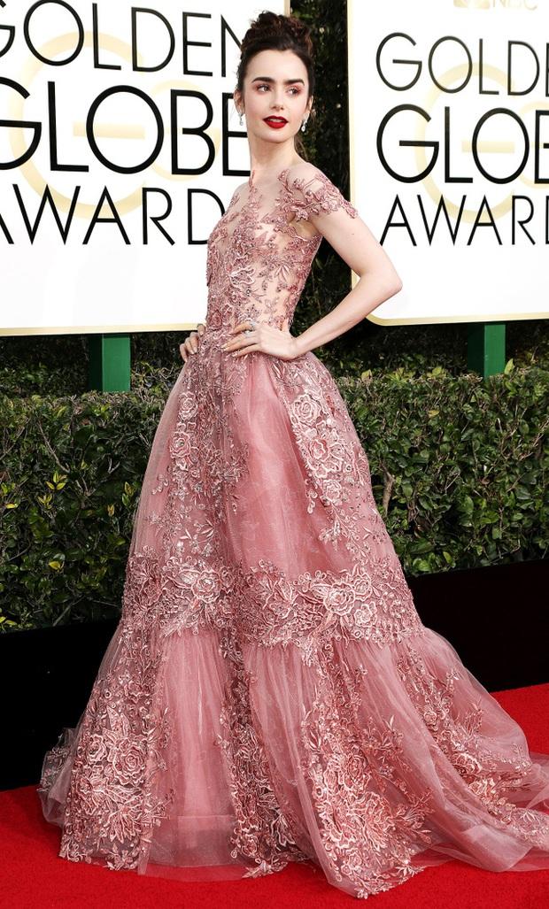 Thảm đỏ Quả Cầu Vàng 2017: Lily Collins đẹp như công chúa, đánh bật dàn Hoa hậu, mỹ nhân Hollywood - Ảnh 2.