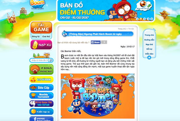 Tựa game Boom online gắn liền với tuổi thơ sắp đóng cửa sau 10 năm gắn bó game thủ Việt - Ảnh 2.