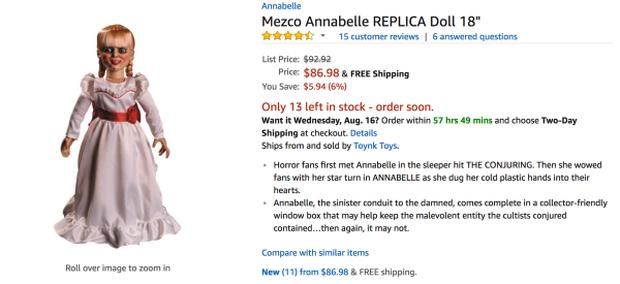 """Nhờ phim, búp bê Annabelle hàng """"fake"""" cũng đắt hàng! - Ảnh 2."""