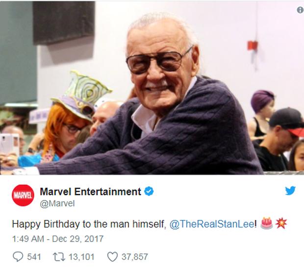 Anh em Avengers nhao nhao chúc mừng thọ bố già Stan Lee tròn 95 tuổi - Ảnh 1.
