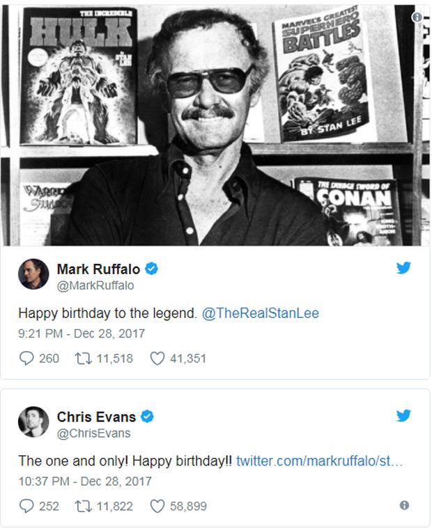Anh em Avengers nhao nhao chúc mừng thọ bố già Stan Lee tròn 95 tuổi - Ảnh 2.