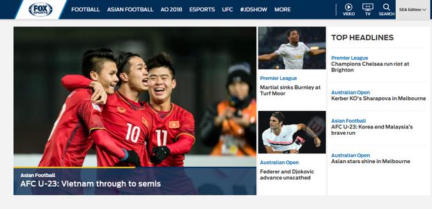 Dòng tin Việt Nam tiến thẳng bán kết xuất hiện đầy tự hào trên trang chủ Fox Sports Asia - Ảnh 1.