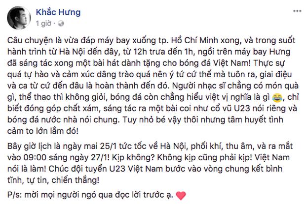 Nhạc sĩ Khắc Hưng sáng tác ca khúc mới dành tặng riêng đội tuyển U23 Việt Nam trước thềm Chung kết - Ảnh 1.