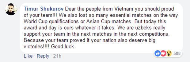 Fanpage AFC thay cover đội thắng, giữa hàng trăm bình luận lọt thỏm 4 chia sẻ của fan Uzbekistan nhưng đó đều là lời khen cho Việt Nam! - Ảnh 5.