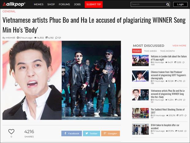 Nghi vấn Phúc Bồ và Hà Lê đạo nhạc Mino (WINNER) bị lên trang tin Kpop lớn - Ảnh 1.