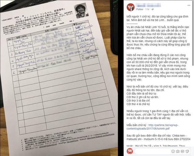 Cộng đồng mạng chung tay ủng hộ chữ ký tìm lại công bằng cho bé Nhật Linh bị sát hại tại Nhật - Ảnh 4.