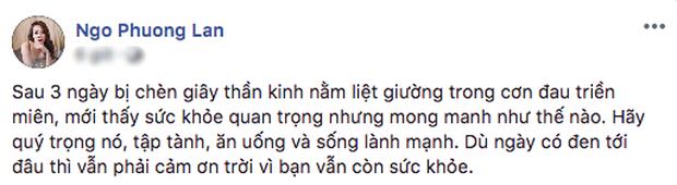Hoa hậu Ngô Phương Lan bị chèn dây thần kinh, nằm liệt giường 3 ngày trong cơn đau triền miên - Ảnh 1.