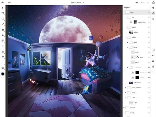 Adobe công bố Photoshop CC bản đầy đủ dành cho iPad vào năm 2019, có thể đồng bộ với desktop - Ảnh 1.