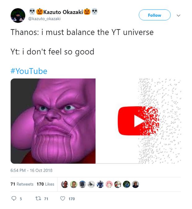 Youtube sập trên toàn cầu, anh khoai tím Thanos bị fan Marvel réo tên - Ảnh 8.