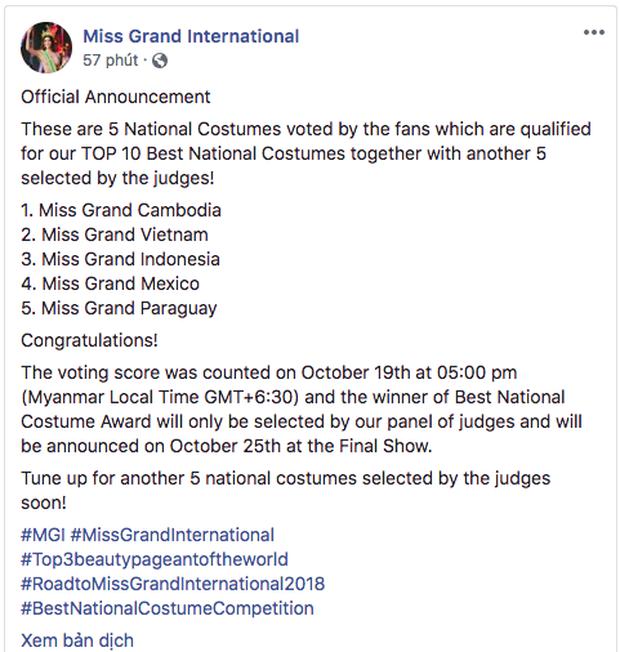 Chính thức: Phương Nga lọt top 5 bộ trang phục dân tộc được bình chọn nhiều nhất tại Miss Grand International 2018 - Ảnh 1.