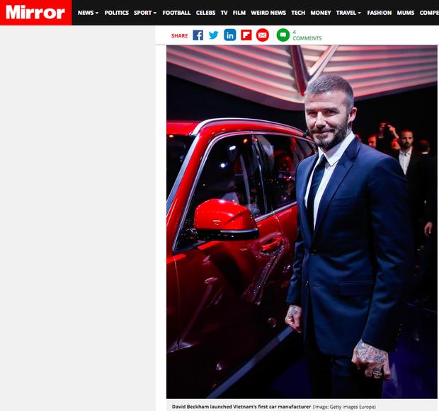 Hàng loạt báo quốc tế đăng tin rầm rộ về màn xuất hiện của David Beckham tại sự kiện ra mắt VINFAST - Ảnh 3.