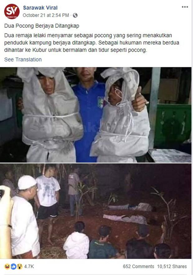 Giả ma dọa dân làng, 2 thanh niên vừa bị bắt ra nghĩa trang nằm ngủ cả đêm cho chừa thói đùa dai - Ảnh 1.
