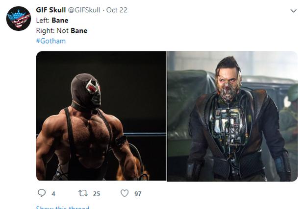 Tạo hình ác nhân Bane bản truyền hình bị chê kém sang, thua xa Tom Hardy của The Dark Knight Rises - Ảnh 8.