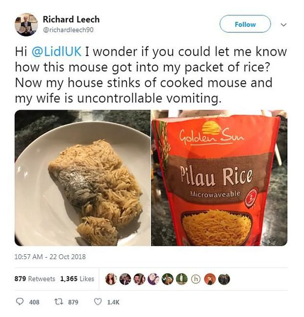 Mua gói cơm ăn liền về ăn cho qua bữa, thanh niên phát hiện ra protein đi kèm là một con chuột đã chín - Ảnh 1.
