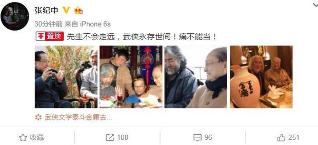 Châu Tấn, Lục Tiểu Linh Đồng cùng loạt sao tiếc thương trước sự ra đi của nhà văn Kim Dung - Ảnh 3.