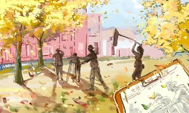 Bộ tranh mùa thu đẹp lãng mạn đến xiêu lòng về ngôi trường được xem là lò đào tạo minh tinh hàng đầu Châu Á - Ảnh 6.