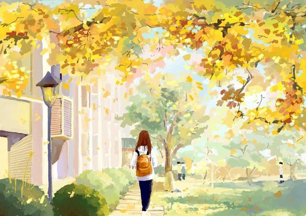 Bộ tranh mùa thu đẹp lãng mạn đến xiêu lòng về ngôi trường được xem là lò đào tạo minh tinh hàng đầu Châu Á - Ảnh 3.