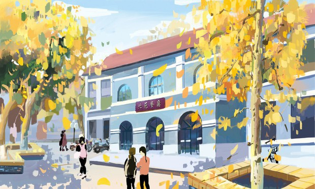 Bộ tranh mùa thu đẹp lãng mạn đến xiêu lòng về ngôi trường được xem là lò đào tạo minh tinh hàng đầu Châu Á - Ảnh 2.
