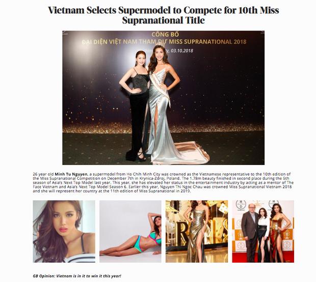 Global Beauties đánh giá cao Minh Tú, dự đoán đại diện Việt Nam sẽ chiến thắng Miss Supranational 2018 - Ảnh 1.