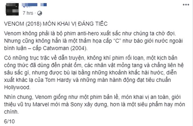 Khán giả Việt: Venom không tệ như những gì giới phê bình vùi dập - Ảnh 6.