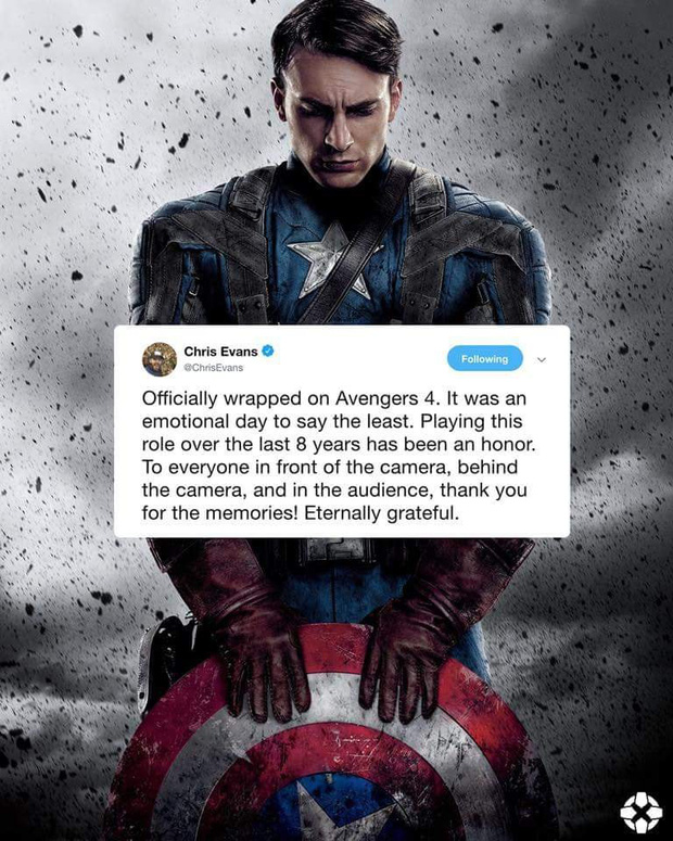 Nam thần Chris Evans chính thức giã từ với vai Captain America sau 8 năm cầm khiên - Ảnh 1.