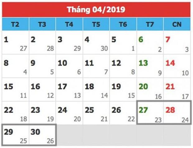 Chi tiết lịch nghỉ lễ các ngày trong năm 2019: Nghỉ Tết Nguyên đán 9 ngày - Ảnh 4.