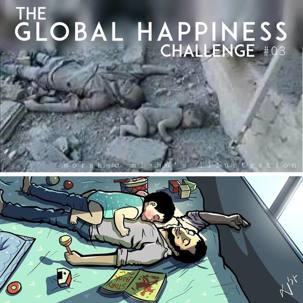 Họa sĩ Bangladesh biến những khoảnh khắc đau thương do chiến tranh thành những tác phẩm ngập tràn hạnh phúc - Ảnh 6.