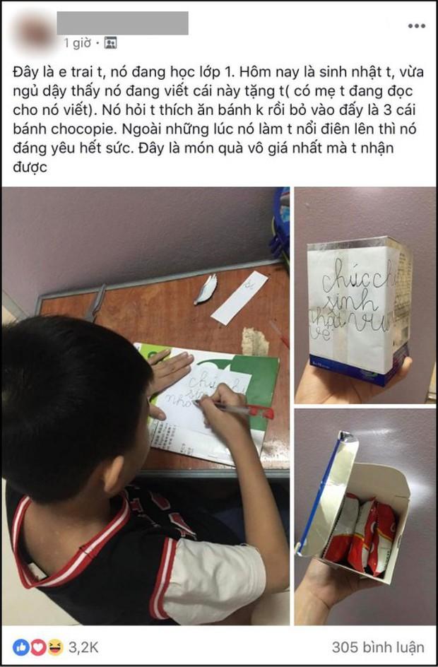 Món quà sinh nhật dễ thương của cậu em trai kém 13 tuổi tặng chị gái khiến dân mạng thích thú, nhiều chàng trai còn tự nhận vơ anh rể - Ảnh 1.