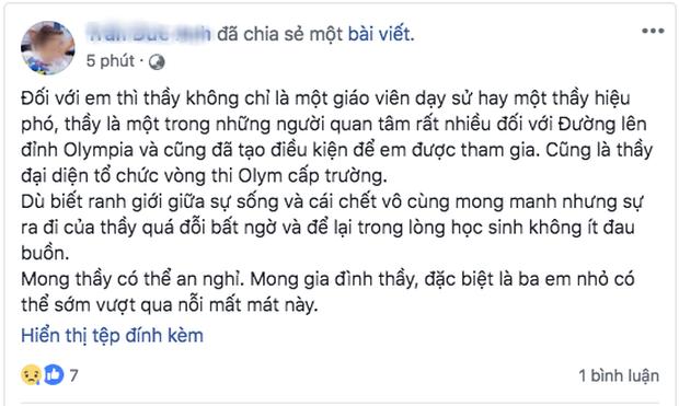 Phó hiệu trưởng trường Chu Văn An qua đời, nhiều thế hệ học sinh bày tỏ sự đau buồn trên MXH - Ảnh 6.