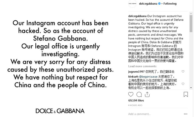 """Dolce&Gabbana dính """"phốt"""" kỳ thị người Trung Quốc, Địch Lệ Nhiệt Ba cùng loạt sao Hoa tuyên bố không tham dự show diễn của hãng - Ảnh 6."""