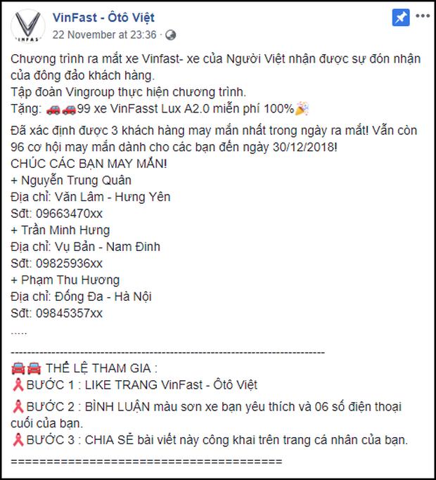 Lừa share Fanpage để nhận xe Vinfast miễn phí, hàng nghìn cư dân mạng Facebook sập bẫy tin sái cổ - Ảnh 1.