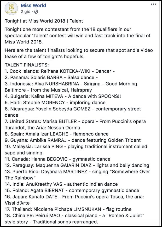 Hoa hậu Tiểu Vy vắng mặt trong Top 18 thí sinh tham gia phần thi tài năng của Miss World 2018 - Ảnh 1.