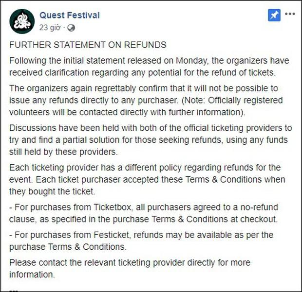 Lễ hội âm nhạc Quest Festival ở Hà Nội bị hủy vào giờ chót: Hàng nghìn khán giả vẫn đang mòn mỏi chờ được hoàn tiền - Ảnh 6.