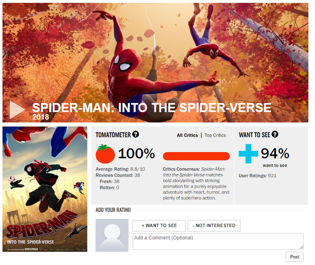Đạt điểm tuyệt đối trên Rotten Tomatoes, Spider-Man: Into the Spider-Verse trở thành phim Người Nhện được đánh giá cao nhất trong lịch sử - Ảnh 1.