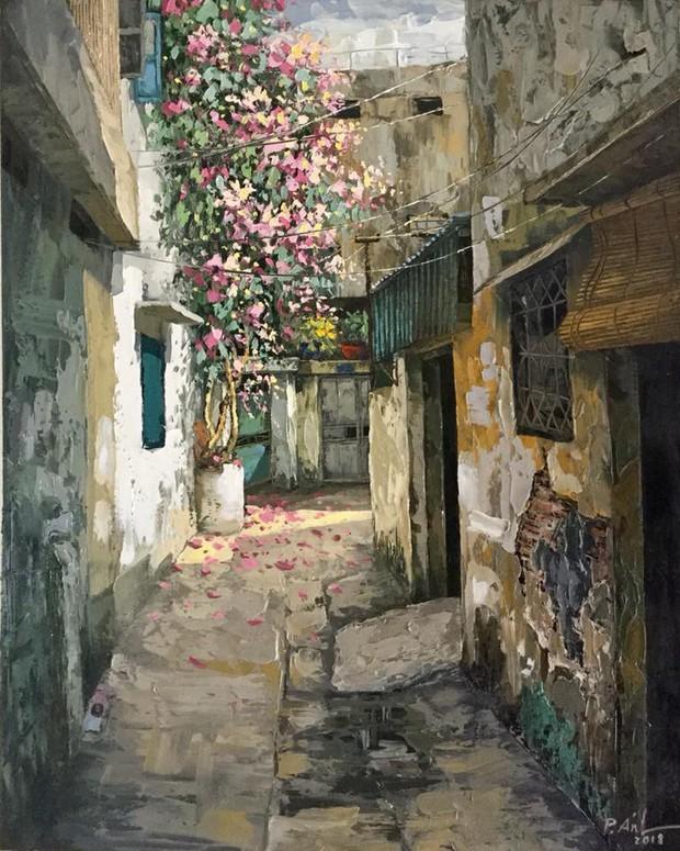 Chùm tranh sơn dầu chủ đề ngõ nhỏ, phố nhỏ đẹp ngỡ ngàng và chân thực không thua gì ảnh chụp - Ảnh 3.
