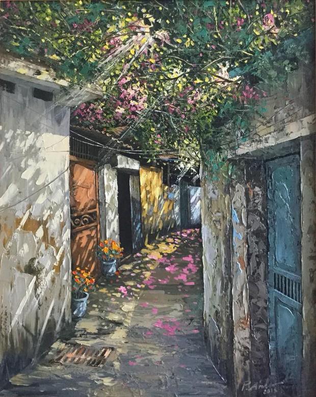 Chùm tranh sơn dầu chủ đề ngõ nhỏ, phố nhỏ đẹp ngỡ ngàng và chân thực không thua gì ảnh chụp - Ảnh 2.
