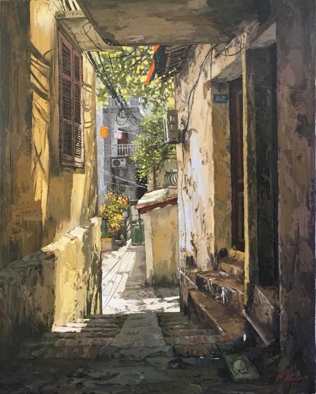 Chùm tranh sơn dầu chủ đề ngõ nhỏ, phố nhỏ đẹp ngỡ ngàng và chân thực không thua gì ảnh chụp - Ảnh 10.