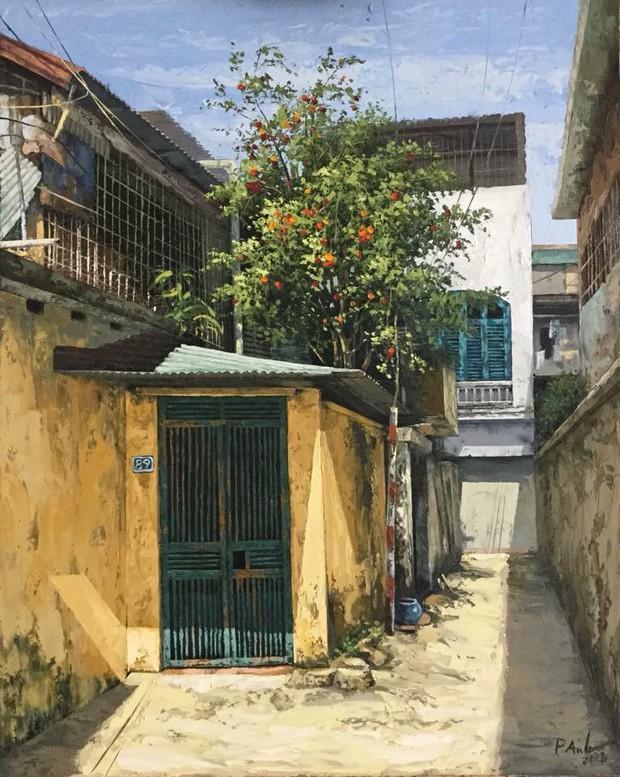 Chùm tranh sơn dầu chủ đề ngõ nhỏ, phố nhỏ đẹp ngỡ ngàng và chân thực không thua gì ảnh chụp - Ảnh 12.