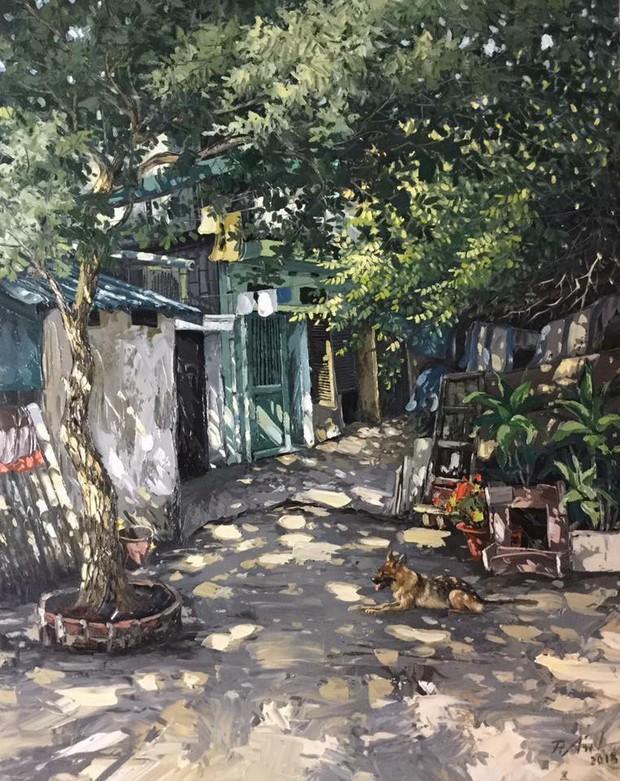 Chùm tranh sơn dầu chủ đề ngõ nhỏ, phố nhỏ đẹp ngỡ ngàng và chân thực không thua gì ảnh chụp - Ảnh 15.