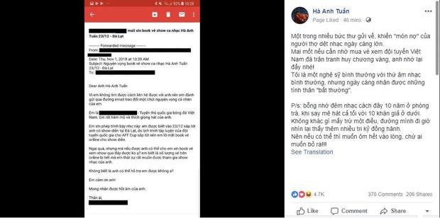 Một tuyển thủ Việt Nam viết mail cho ca sĩ Hà Anh Tuấn để xin book vé show ca nhạc - Ảnh 1.